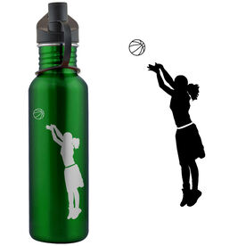 Basketball Player Silhouette (F) 24 oz Stainless Steel Water Bottle
