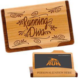 Running Diva Maple Business Card/Credit Card Holder