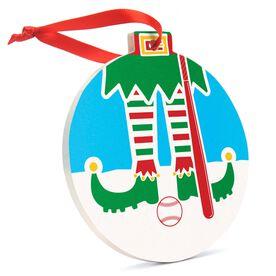 Baseball Round Ceramic Ornament - Elf Graphic