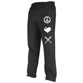 Peace Love Softball (Symbols) Fleece Sweatpants