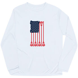 Guys Lacrosse Long Sleeve Performance Tee - American Flag