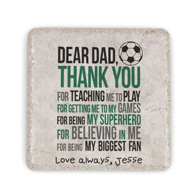 Soccer Stone Coaster - Dear Dad (Autograph)