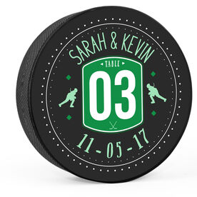 Personalized Wedding Table Number Hockey Puck