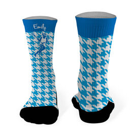Girls Lacrosse Printed Mid Calf Socks Personalized Female Silhouette Houndstooth Pattern