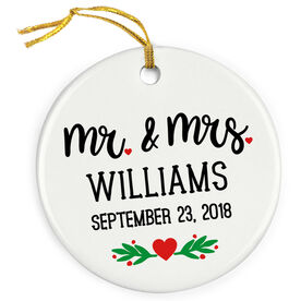 Personalized Porcelain Ornament - Mr and Mrs