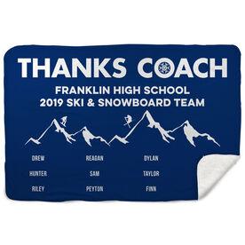 Skiing & Snowboarding Sherpa Fleece Blanket - Thanks Coach (Horizontal)