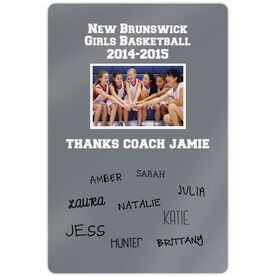 "Basketball Aluminum Room Sign Personalized Thanks Coach with Team Signatures (18"" X 12"")"