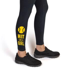 Softball Leggings - Hit Like A Girl (Yellow)