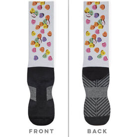 Running Printed Mid-Calf Socks - Candy Hearts Run
