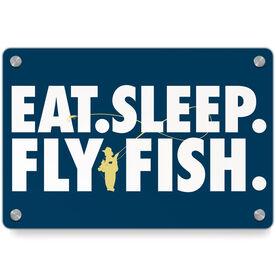 Fly Fishing Metal Wall Art Panel - Eat Sleep Fly Fish