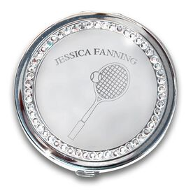 Silver Personalized Tennis Compact Mirror