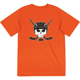 Hockey Short Sleeve Performance Tee - Hockey Helmet Skull