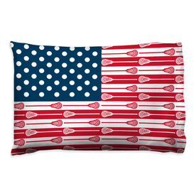 Guys Lacrosse Pillowcase - USA Sticks Flag