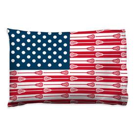 Guys Lacrosse Pillowcase - USA Sticks Flag