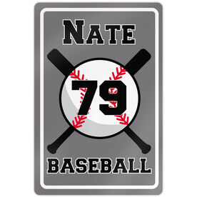 "Baseball Aluminum Room Sign Personalized Baseball With Bats (18"" X 12"")"