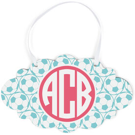 Soccer Cloud Sign - Monogram with Soccer Ball Pattern