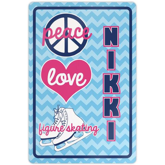 "Figure Skating 18"" X 12"" Aluminum Room Sign Personalized Peace Love Figure Skating Chevron"