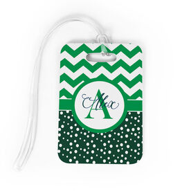 Personalized Bag/Luggage Tag - Chevron Monogram with Dots