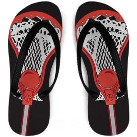 Guys Lacrosse Flip Flops Stick Black/Red
