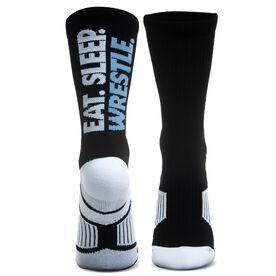 Wrestling Woven Mid-Calf Socks - Eat. Sleep. Wrestle.