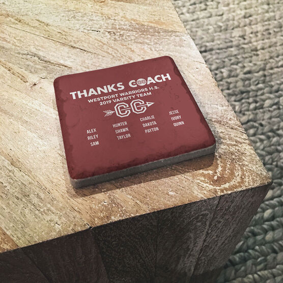 Cross Country Stone Coaster - Thanks Coach Roster