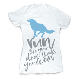 Vintage Running Fitted T-Shirt - Run Like Your Dog Thinks You Can