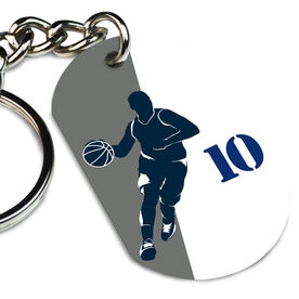 Basketball Printed Dog Tag Keychain Personalized Basketball Player Silhouette Guy