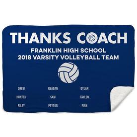 Volleyball Sherpa Fleece Blanket - Thanks Coach (Horizontal)