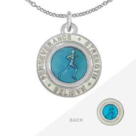 Runner's Creed Pendant Necklace - 1.5cm Blue/White