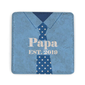 Personalized Stone Coaster - Papa with Year