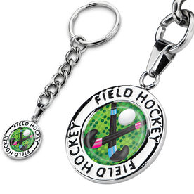 Field Hockey Circle Keychain Field Hockey Stick Battle Graphic