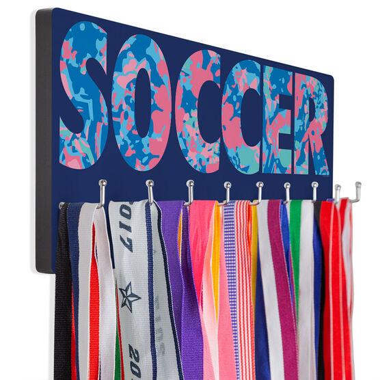 Soccer Hooked on Medals Hanger - Floral Soccer
