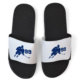 Hockey White Slide Sandals - Hockey Rink Turn with Number