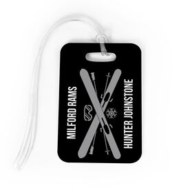 Skiing Bag/Luggage Tag - Personalized Text with Crossed Skis