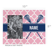 Girls Lacrosse Photo Frame - Personalized Girl Lacrosse Sticks Quatrefoil