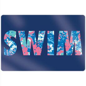 "Swimming 18"" X 12"" Aluminum Room Sign - Floral"