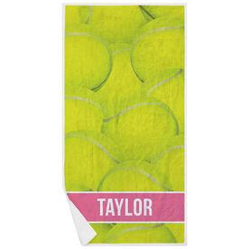 Tennis Premium Beach Towel - Personalized Ball Background