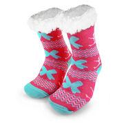 Cheer Slipper Socks with Sherpa Lining