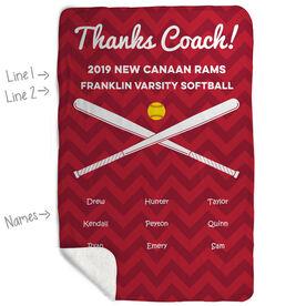 Softball Sherpa Fleece Blanket - Personalized Thanks Coach Chevron