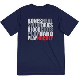 Hockey Short Sleeve Performance Tee - Bones Saying