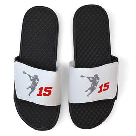 Guys Lacrosse White Slide Sandals - Lax Jumpshot with Number