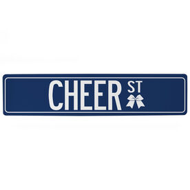 "Cheerleading Aluminum Room Sign - Cheer Street (4""x18"")"