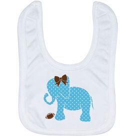 Football Baby Bib - Football Elephant with Bow
