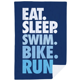 Triathlon Premium Blanket - Eat. Sleep. Swim. Bike. Run. Vertical