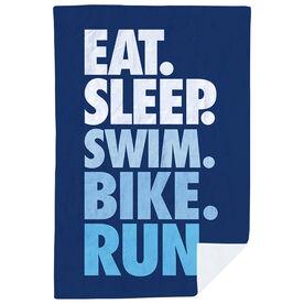 Triathlon Premium Blanket - Eat. Sleep. Swim. Bike. Run. Vertical