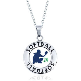 Softball Circle Necklace - Catcher Silhouette With Number