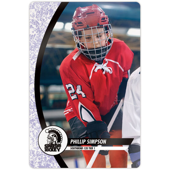 "Hockey 18"" X 12"" Aluminum Room Sign - Player Photo With Logo"