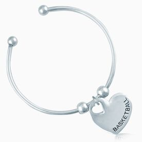 Silver BASKETBALL Heart On Silver Plated Cuff Bracelet