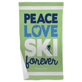 Skiing Beach Towel Peace Love Ski Forever