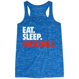 Baseball Flowy Racerback Tank Top - Eat Sleep Baseball (Bold Text)